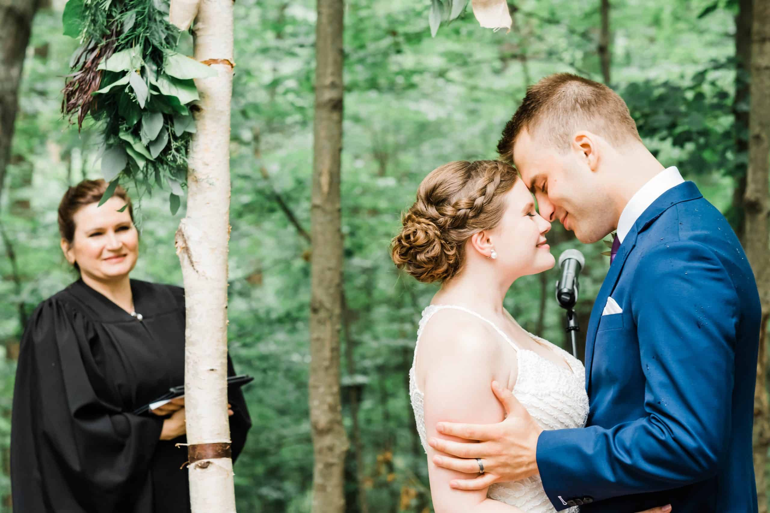 Couple ties the knot in the Cathedral of Trees at Kortright Centre