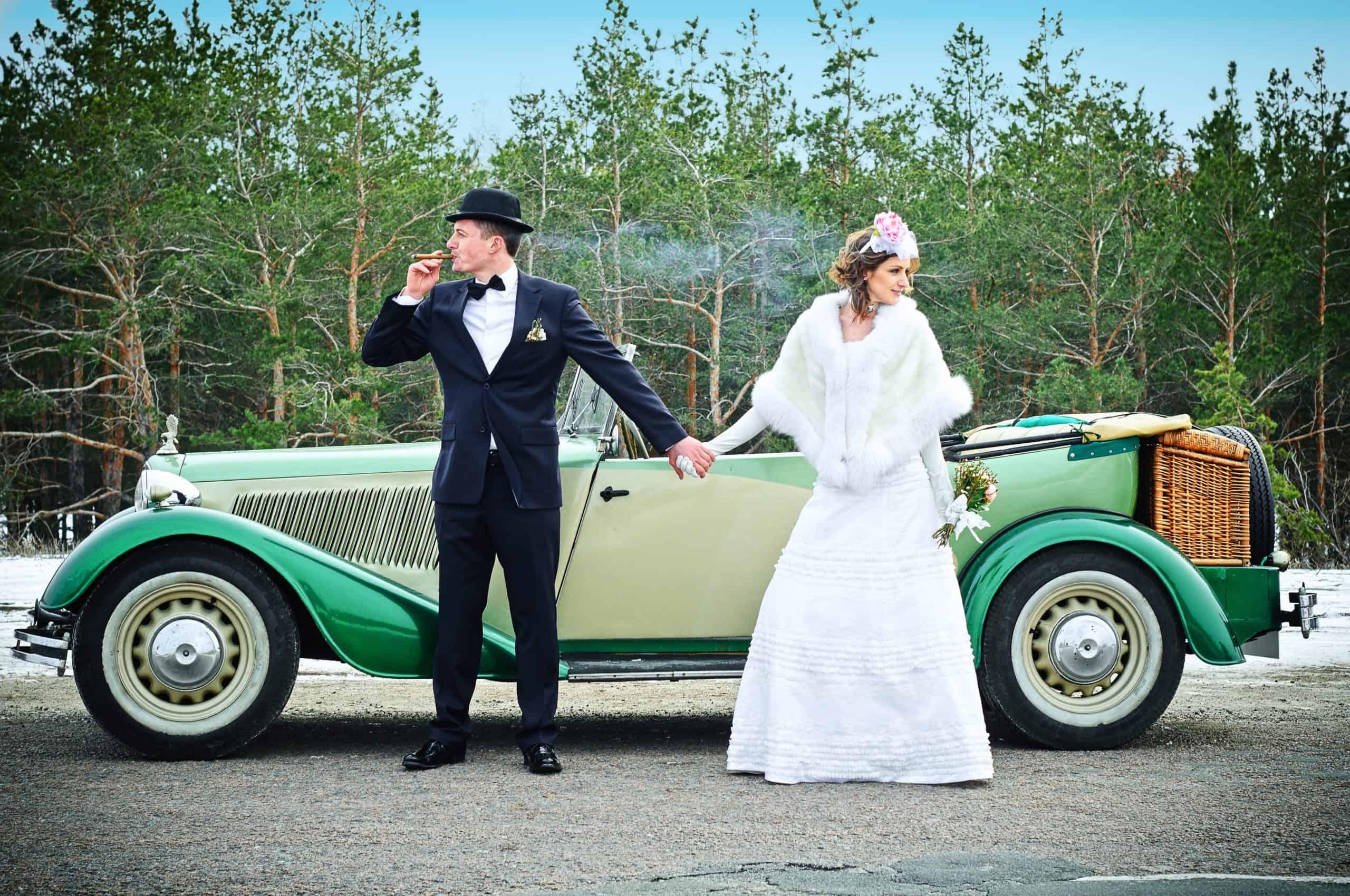 Vintage Wedding Bride and Groom